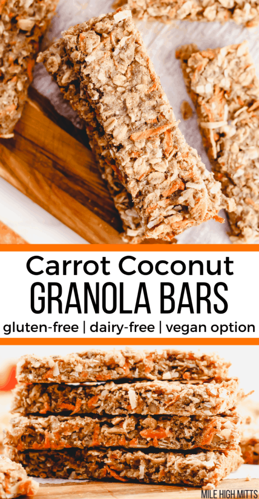 a stack of Carrot Coconut Granola Bars with a top down view and a side view