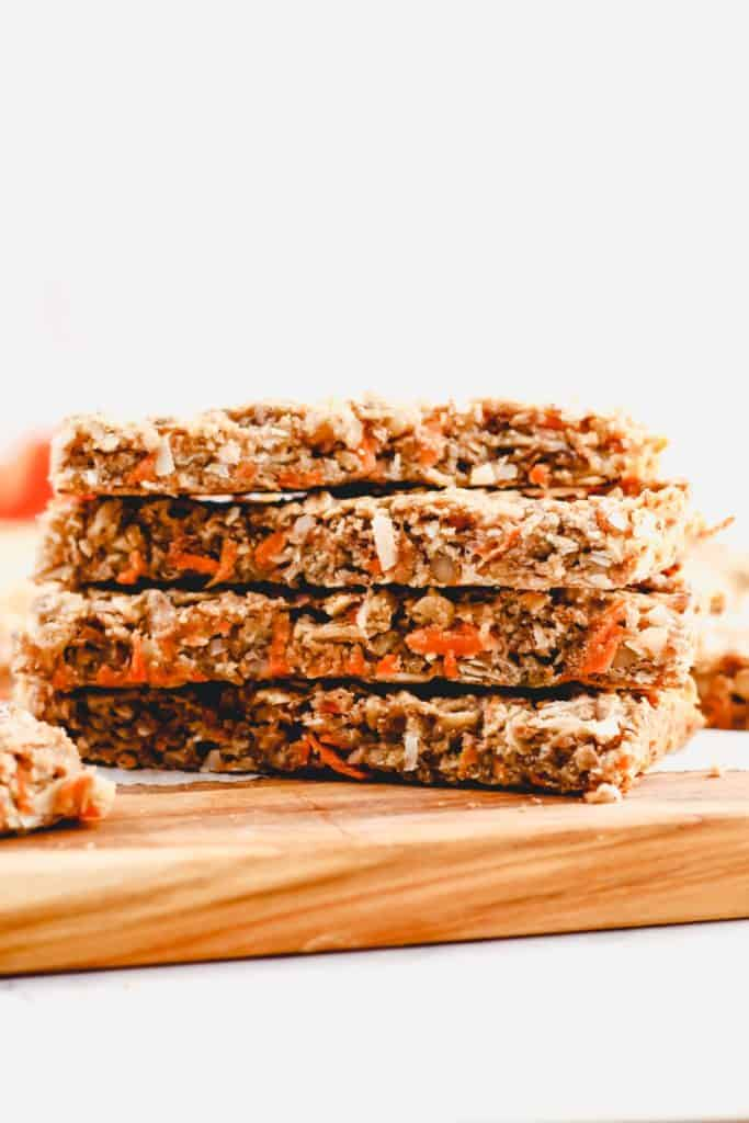 a stack of Carrot Coconut Granola Bars viewed from the side