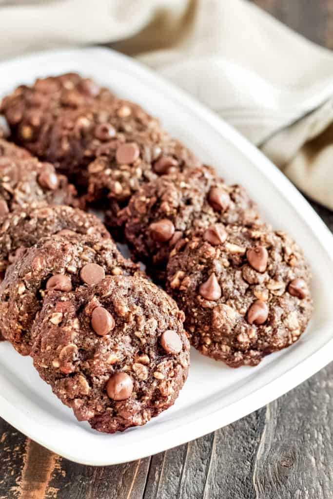 a tray of Chocolate Breakfast Cookies
