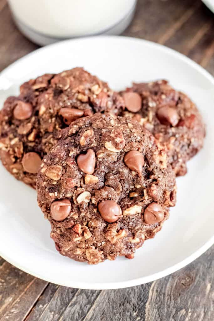 a close up of one Chocolate Breakfast Cookie on a plate