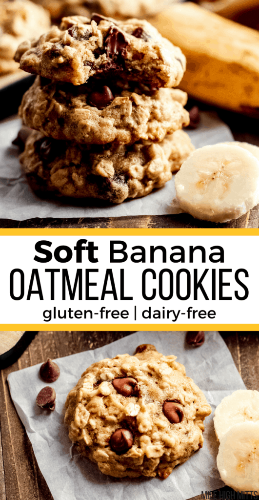 A stack of Soft Banana Oatmeal Cookies and one cookie close up viewed from above