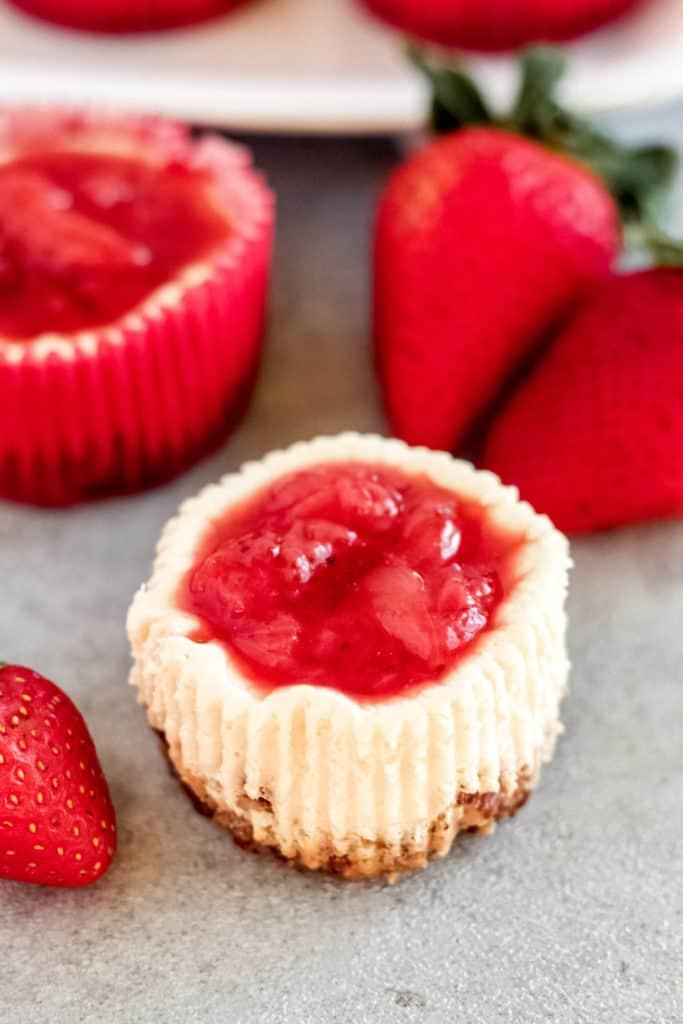 a Skinny Mini Strawberry Cheesecake close up view