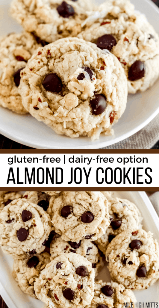 Almond Joy Cookies on a plate and a tray.