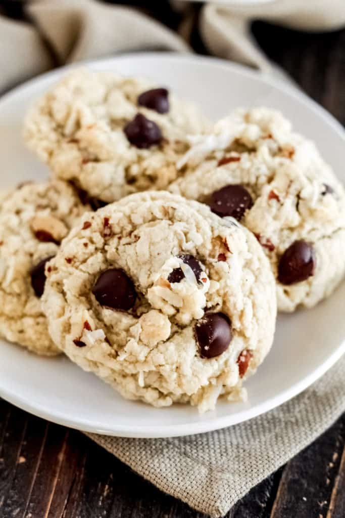 a plate with 4 almond joy cookies