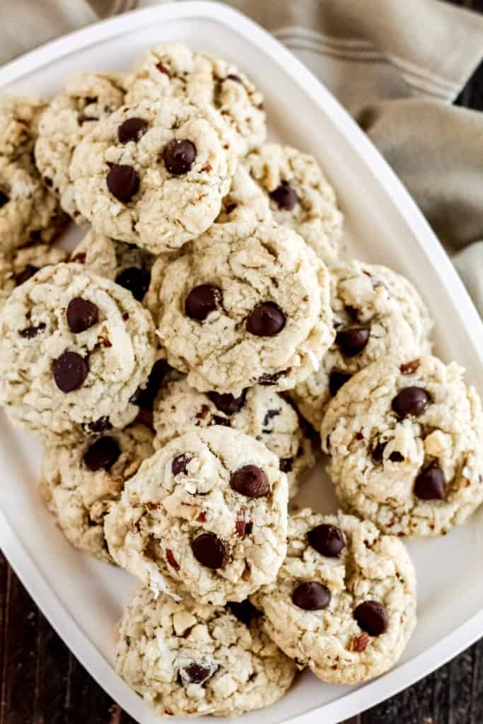 a tray loaded with almond joy cookies