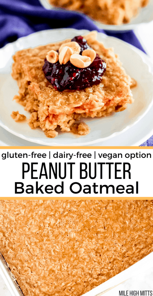 pan of peanut butter baked oatmeal and a piece of oatmeal on a plate with jelly and peanuts on top.