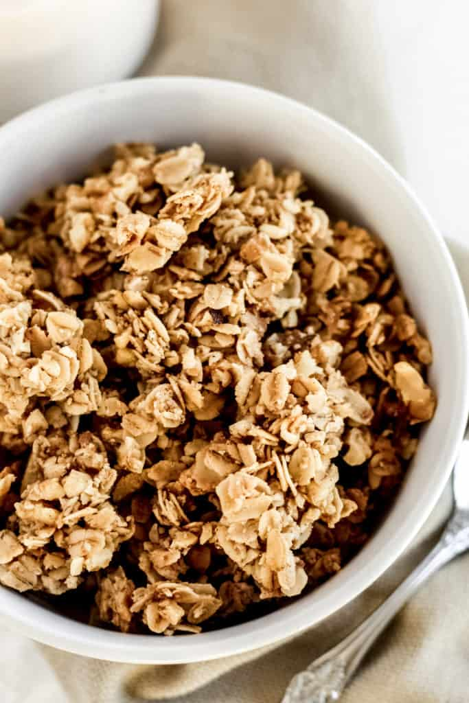 an up close view of vanilla granola