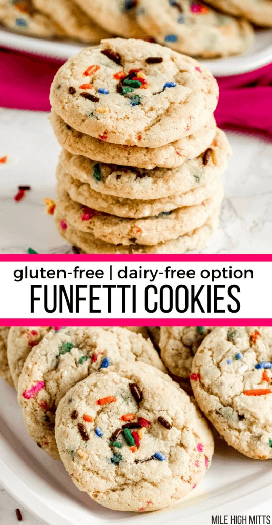 stack of funfetti cookies and funfetti cookies on a tray.