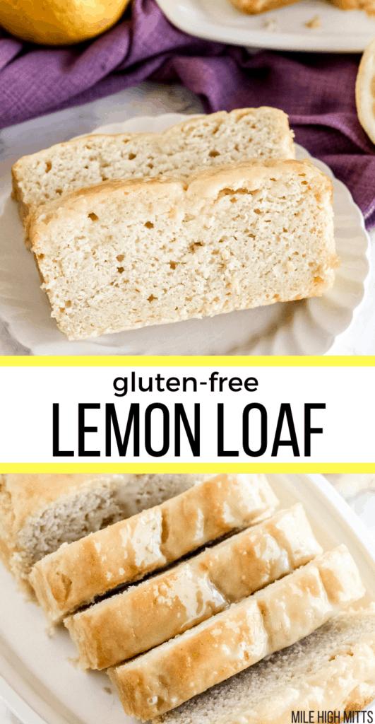 lemon loaf on a plate, sliced.