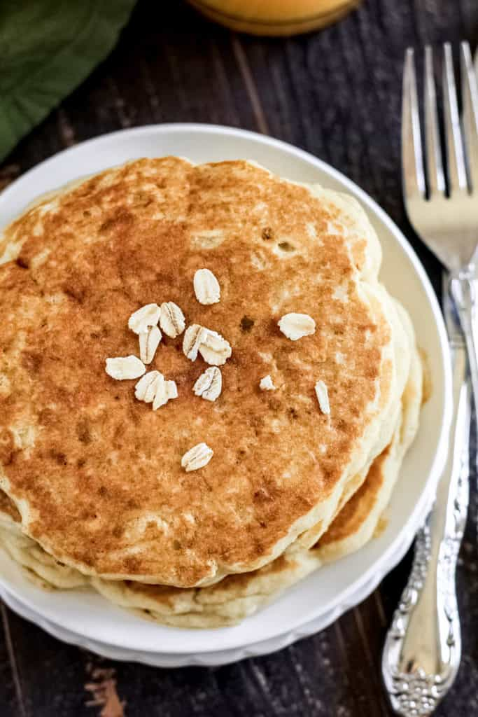 top view of pancakes and oats.