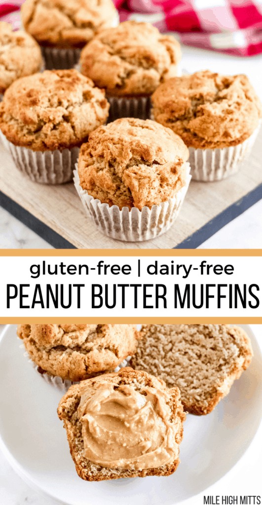 muffins on a tray. muffins on a plate with peanut butter on top.
