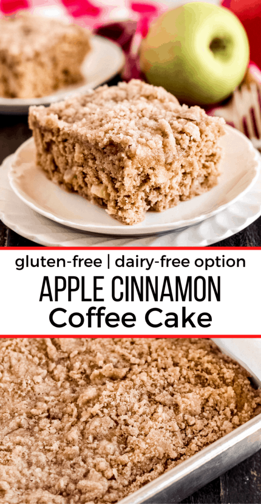 piece of apple cinnamon coffee cake on top, and the cake in a pan in the image below