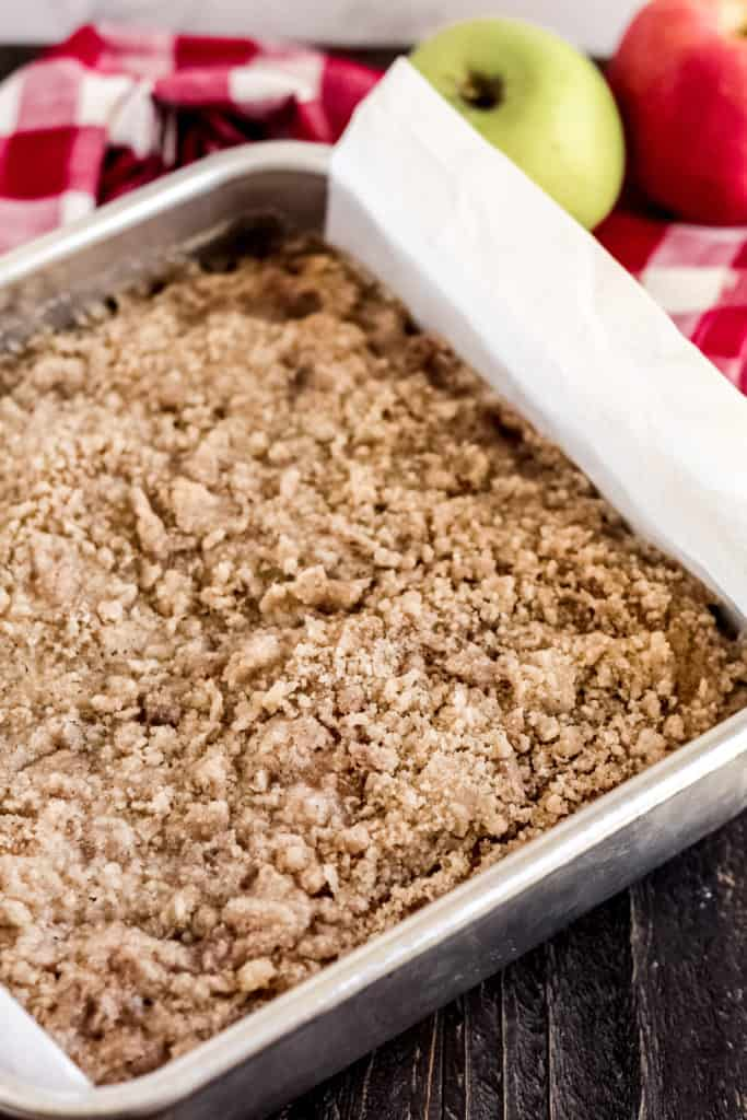 pan with coffee cake and crumble on top