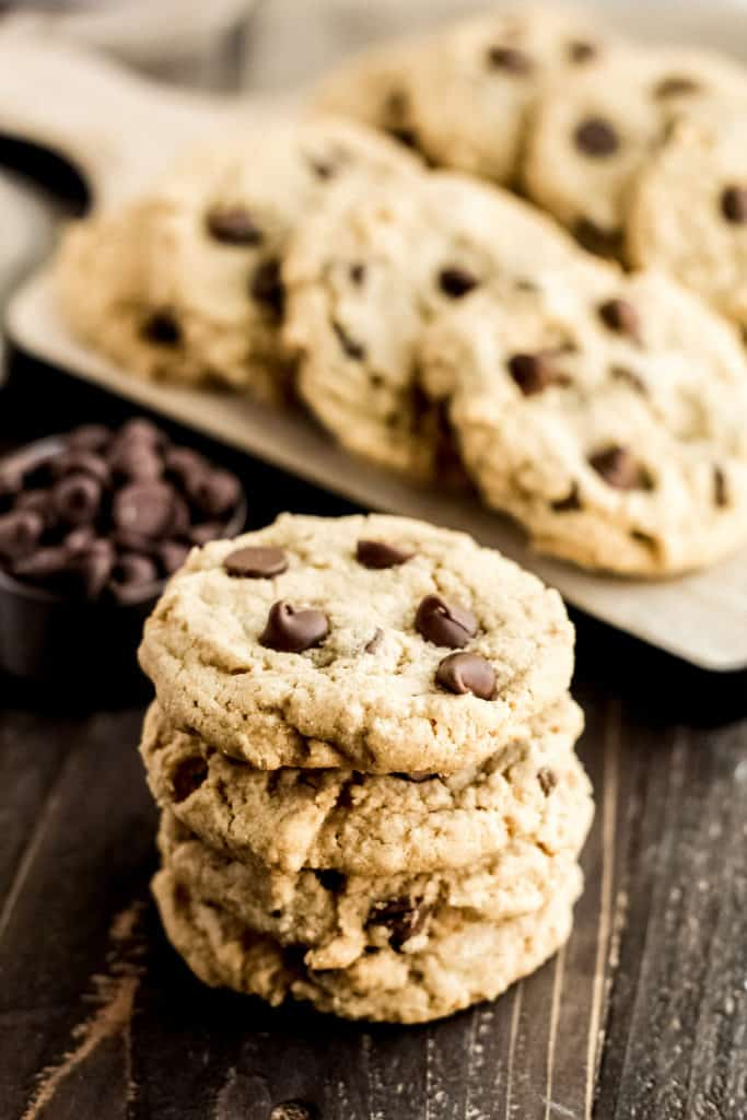 stack of four peanut butter chocolate chip cookies