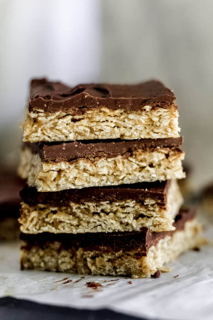 Stack of four Chocolate Peanut Butter Oatmeal Bars
