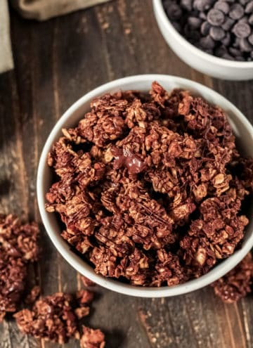 A bowl of chocolate granola
