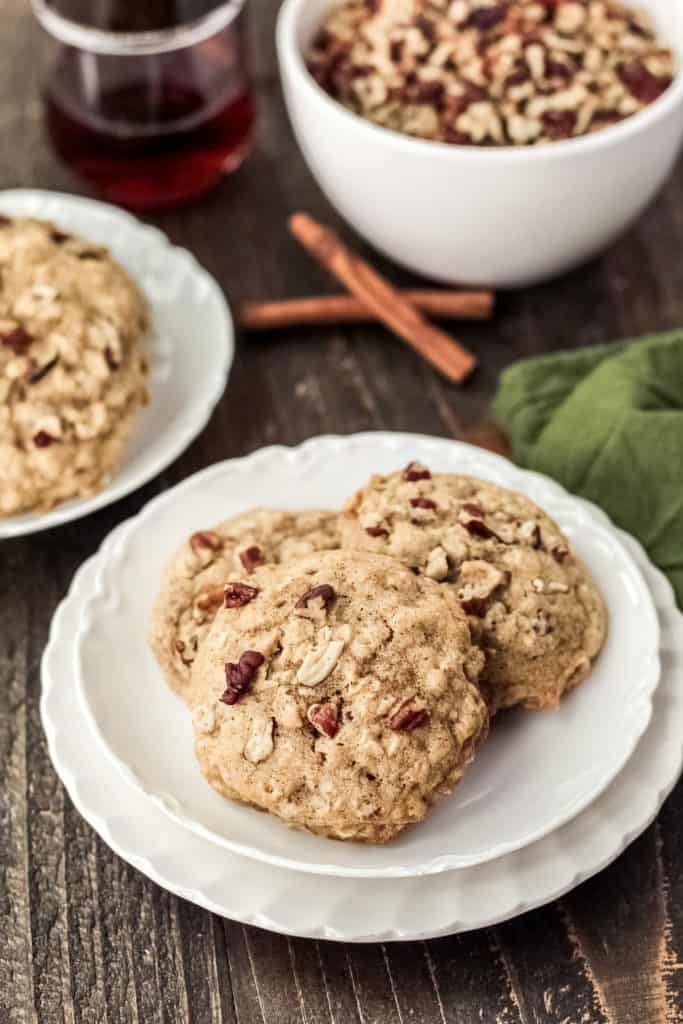 Plate of three maple pecan oatmeal cookies
