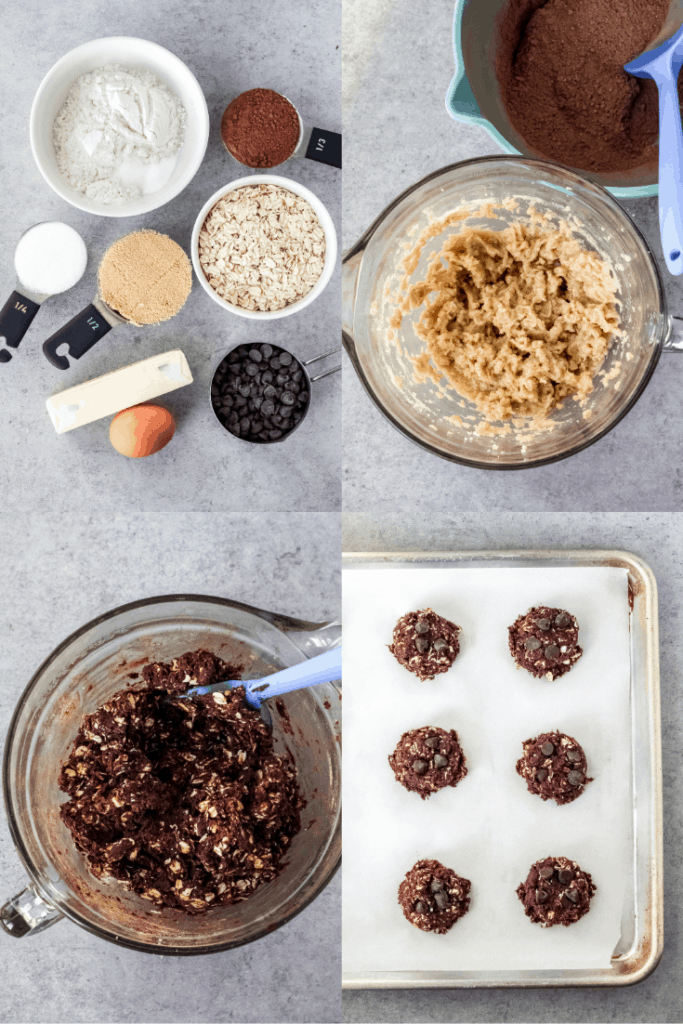A collage of cookie ingredients, mixing them together, and putting the cookies on a pan with parchment paper.