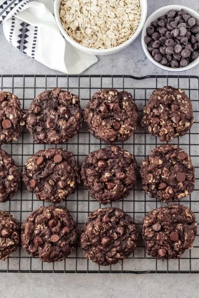 Double Chocolate Oatmeal Cookies on a cooling rack