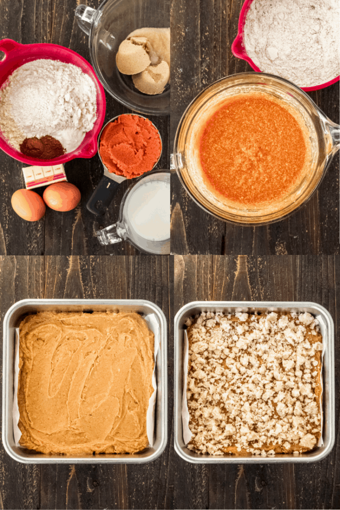 A collage of ingredients of the pumpkin coffee cake, mixing them together, then putting them in a pan.