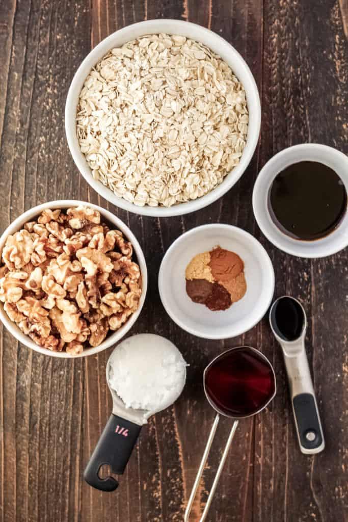Bowls of ingredients of granola