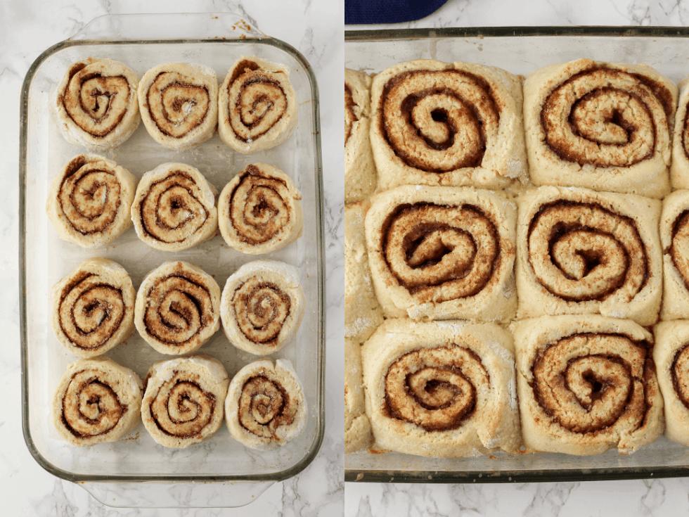 Two pans of cinnamon rolls