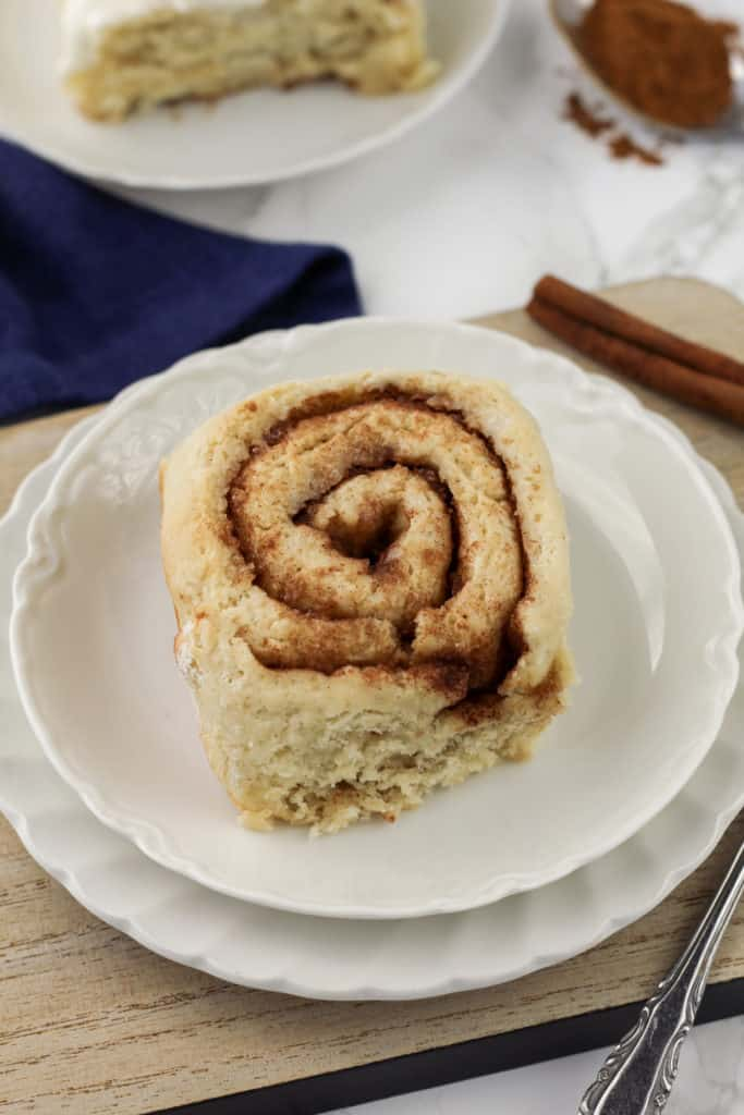 Cinnamon roll on a plate