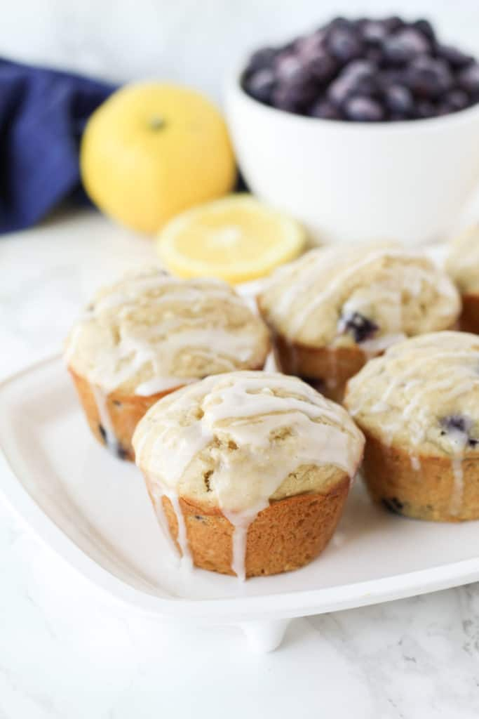 Muffins on a white tray