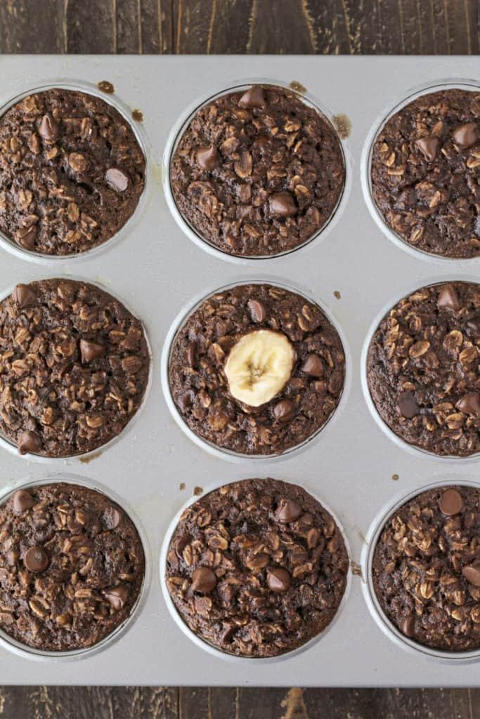 Oatmeal cups in a muffin tin