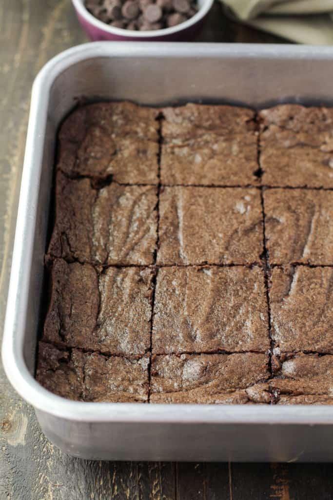 Pan of brownies cut into pieces