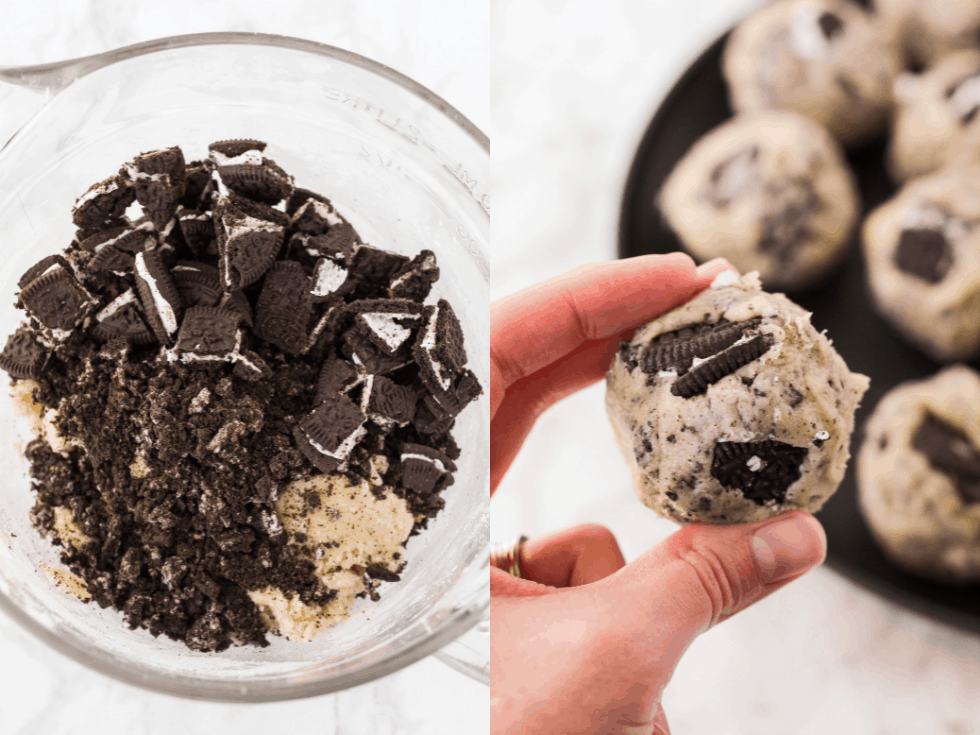 Oreo cookies and a cookie dough ball
