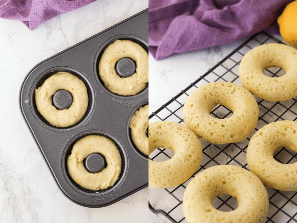 Donut batter in a pan and donuts on a cooling rack