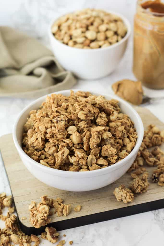 Bowl of granola on a tray