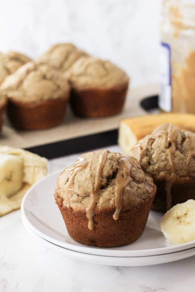 Two muffins on a plate