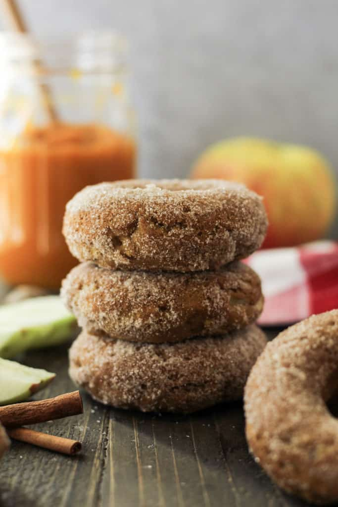 Stack of cinnamon sugar covered donuts
